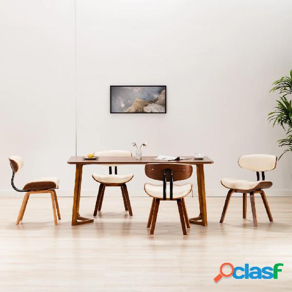 Vidaxl sedie da pranzo 4 pz crema in legno piegato e similpelle