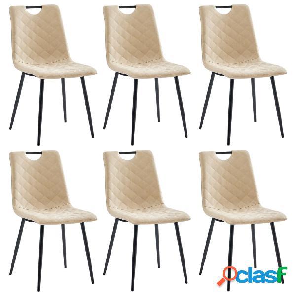Vidaxl sedie da pranzo 6 pz crema in similpelle
