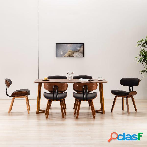 Vidaxl sedie da pranzo 6 pz grigie in legno piegato e similpelle