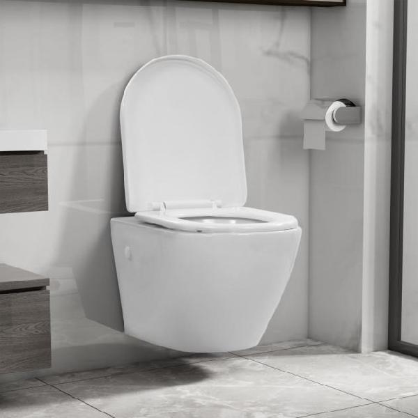 Vidaxl wc sospeso con design senza bordi in ceramica bianca
