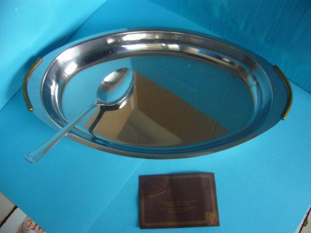 Vassoio piatto acciaio inox risottiera cm 40. nuovo