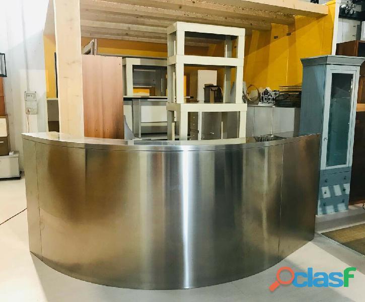 Reception usata per uffici semicurva acciaio inox