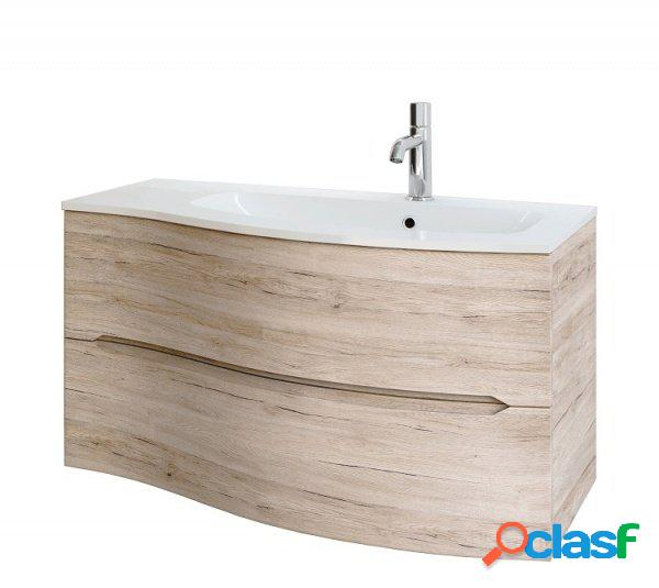 Base lavabo da bagno sospesa onda destra rovere