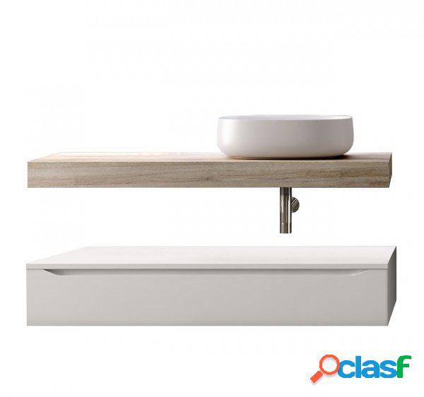Composizione bagno top lavabo e cassettone rovere e bianco 120cm