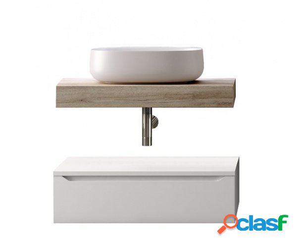 Composizione bagno top lavabo e cassettone rovere e bianco 90cm