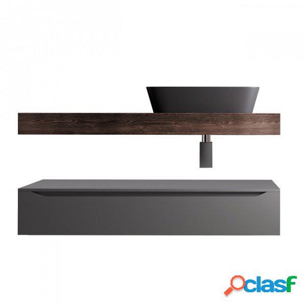 Composizione bagno top lavabo e cassettone rovere scuro e grigio 120cm