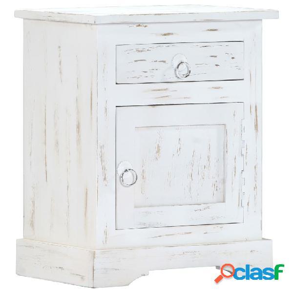Vidaxl comodino bianco 40x30x50 cm in legno massello di mango