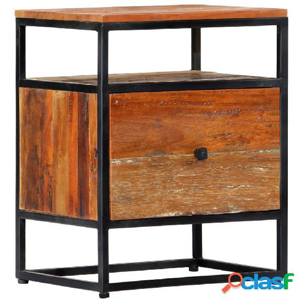 Vidaxl comodino 40x30x50 cm in legno massello di recupero e acciaio