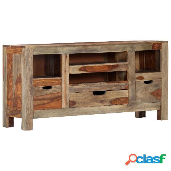 Vidaxl credenza grigia 100x30x50 cm in legno massello di sheesham