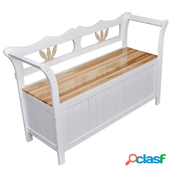 Vidaxl cassapanca 126x42x75 cm in legno bianca