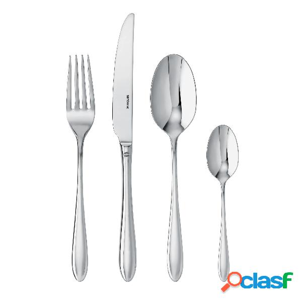 Servizio posate 24 pezzi in acciaio inox 18/10 monoblocco dream 6 posti tavola, 6 coltelli da tavola, 6 cucchiai, 6 forchette, 6 cucchiaini da caffè inox lucido