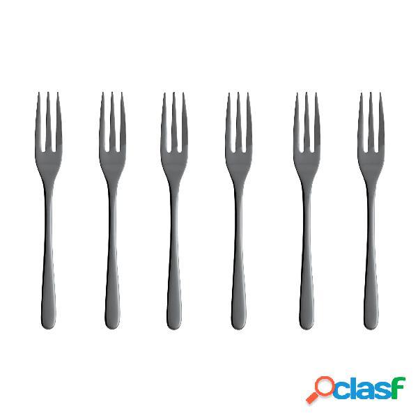 Confezioni 6 forchette dolce acciaio inox 18/10- lunghezza 14,20 cm monoblocco taste pvd black