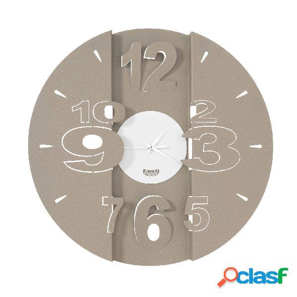 Orologio con quadrante minimal piccolo tunnel in metallo, diam.50, colore beige-bianco