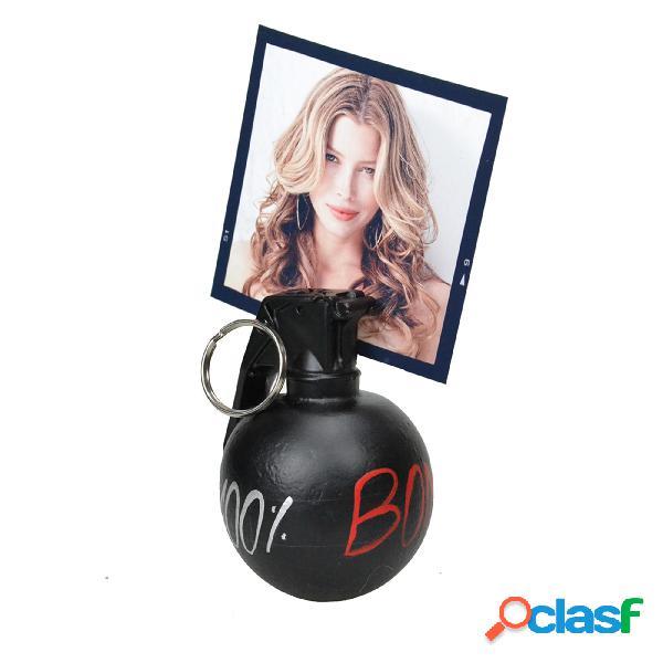 Portafoto granata mk3 in resina 6x7xh9 cm in resina decorata a mano colore nero