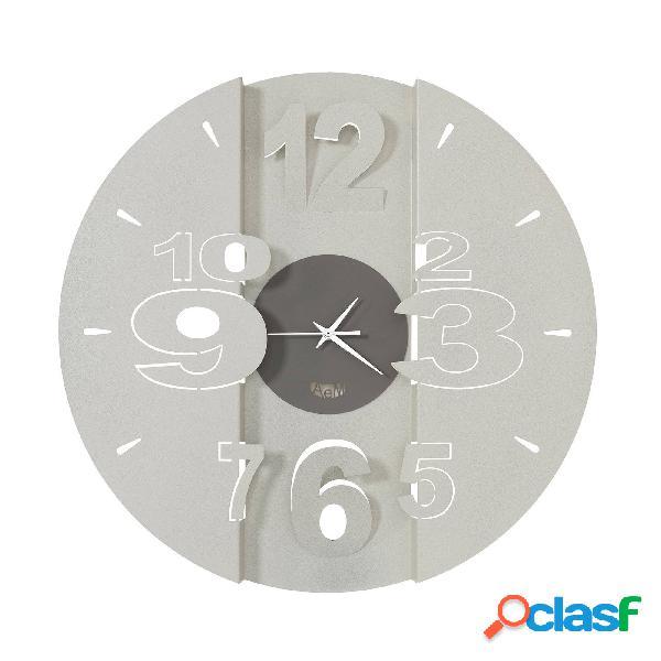 Orologio con quadrante minimal piccolo tunnel in metallo, diam.50, colore fango avorio