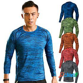 Men's hiking tee shirt long sleeve crew neck tee tshirt top outdoor breathable quick dry ultra light (ul) soft spring summer elastane terylene stripes yellow r