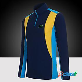 Men's hiking tee shirt long sleeve standing collar tee tshirt top outdoor lightweight breathable quick dry warm summer terylene patchwork blue grey green campi