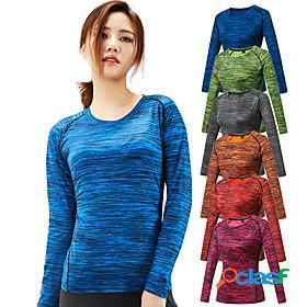 Women's hiking tee shirt long sleeve crew neck tee tshirt top outdoor portable breathable quick dry ultra light (ul) spring summer elastane terylene stripes re