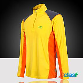 Men's long sleeve hiking tee shirt tee tshirt top standing collar outdoor lightweight uv resistant breathable quick dry poly summer patchwork yellow red blue c