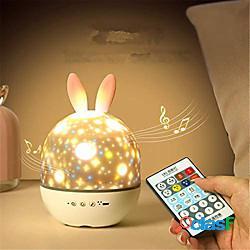 Proiettore a led luce notturna lampada da proiezione rotante alce coniglio con telecomando per camera dei bambini illuminazione per il sonno del bambino illuminazione notturna per il paesaggi