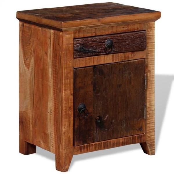 Vidaxl comodino in legno massello di recupero di acacia