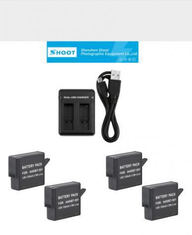 Kit batterie e caricabatterie gopro hero 5/6/hero nuovo