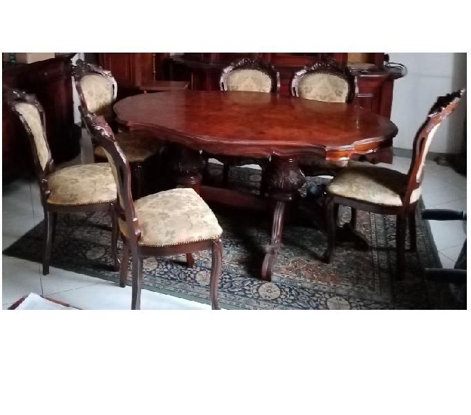 Tavolo in stile, legno massello radica con sedie. in vendita campi bisenzio - vendita mobili usati