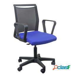 Sedia home - office smart light - schienale in rete - nero - blu - con braccioli - unisit (unit vendita 1 pz.)