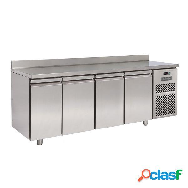 Tavolo refrigerato 4 porte con alzatina prof. 600 mm - temperatura 0°c/+10°c