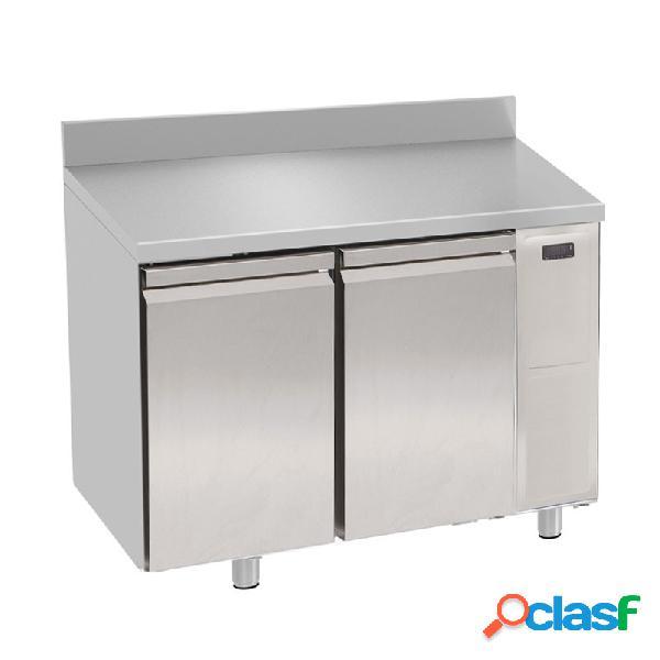 Tavolo refrigerato 2 porte con alzatina prof. 700 mm - temperatura 0°c/+10°c - motore remoto
