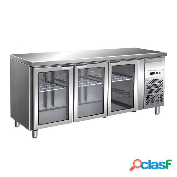 Tavolo refrigerato ventilato, prof. 700 con 3 porte in vetro, temperatura +2°c/+8°c