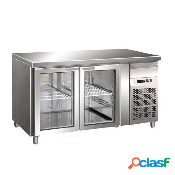 Tavolo refrigerato ventilato, prof. 700 con 2 porte in vetro, temperatura +2°c/+8°c