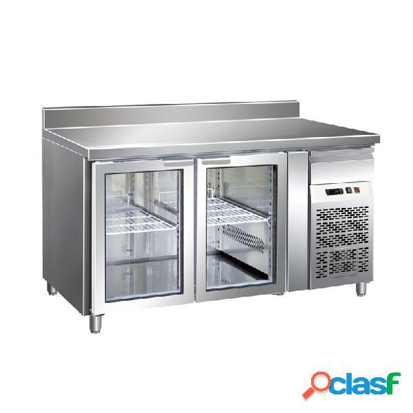 Tavolo refrigerato ventilato, prof. 700 con 2 porte in vetro e alzatina, temperatura +2°c/+8°c