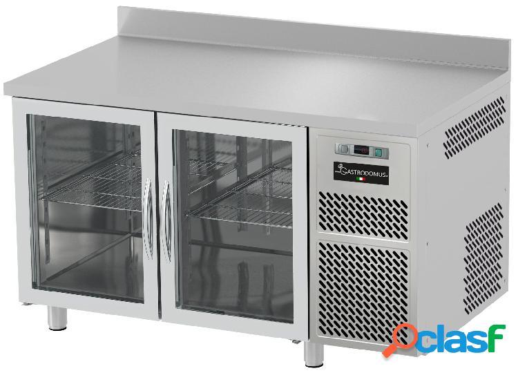 Tavolo refrigerato prof. 700 con alzatina - 2 porte in vetro - 0°c/+10° c - piano in inox