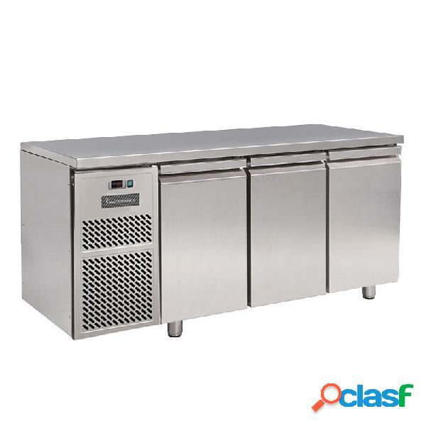Tavolo refrigerato motore a sinistra 3 porte prof. 600 mm temperatura -18°c/-22°c