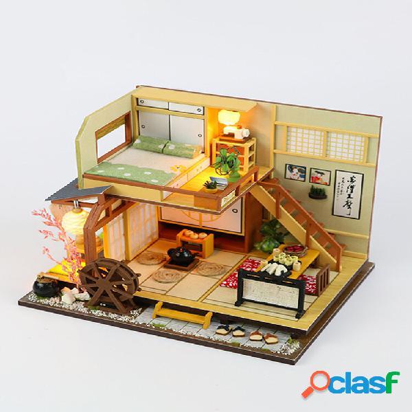 Artigianato fai da te in stile giapponese led casa delle bambole in legno
