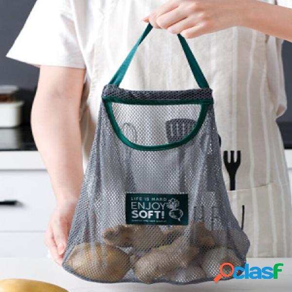 Portaoggetti a rete da appendere in cucina borsa riciclaggio riutilizzabile patate aglio frutta organizzatore