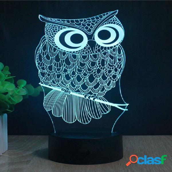 Decbest owl 3d led lights usb battery colorato touch control night light regalo home decor