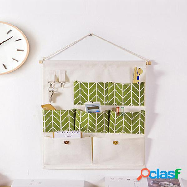 Portaoggetti da parete in cotone e lino borsa articoli vari organizzatore appendiabiti