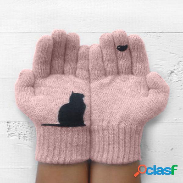 Lana da donna guanti autunno inverno esterno caldo freddo imbottito gatto uccello stampa guanti