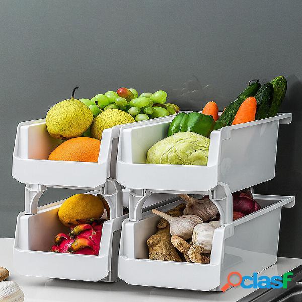 Ripiano per verdure multifunzionale impilabile da cucina 1 pezzo scatola finitura desktop di grande capacità scatola rip