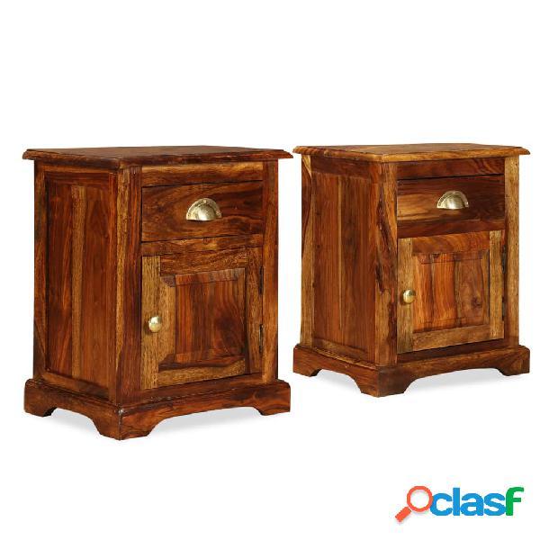 Vidaxl comodini set 2 pz 40x30x50 cm in legno massello di sheesham