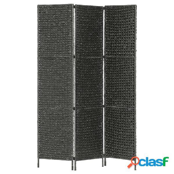 Vidaxl paravento a 3 pannelli nero 116x160 cm in giacinto d'acqua