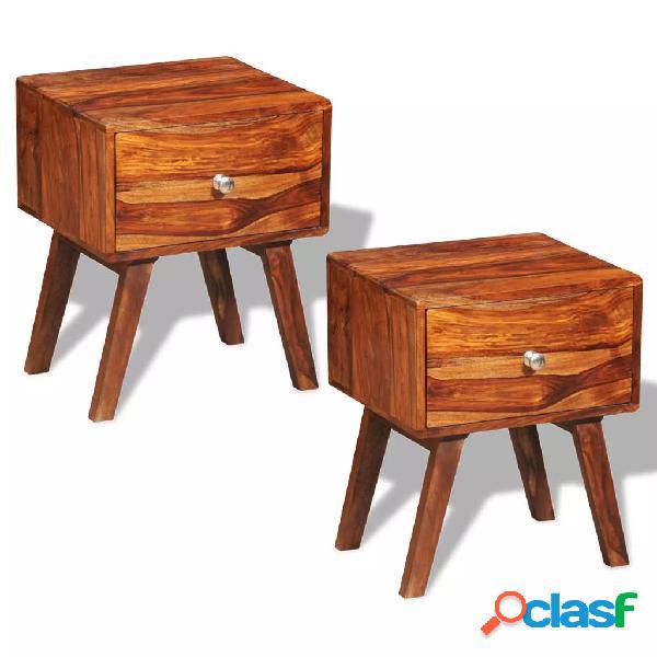 Vidaxl comodini 2 pz con 1 cassetto 55 cm legno massello di sheesham