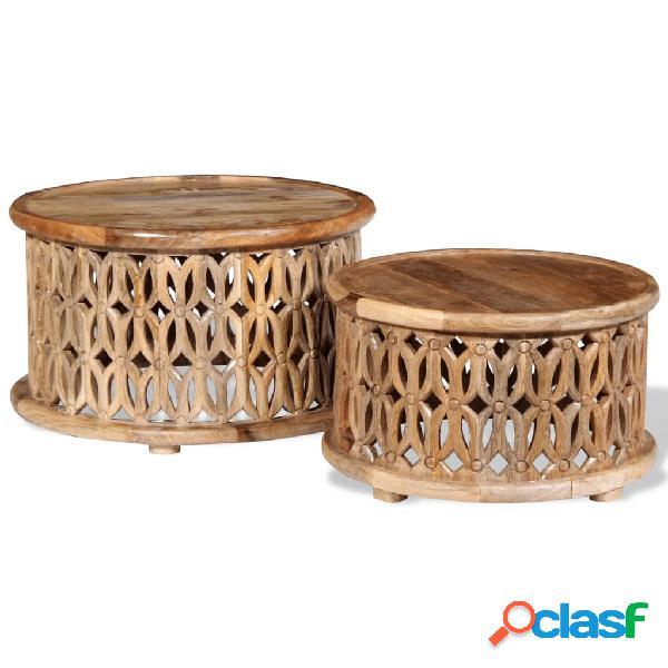 Vidaxl set tavolini da caffè 2 pz in legno massello di mango