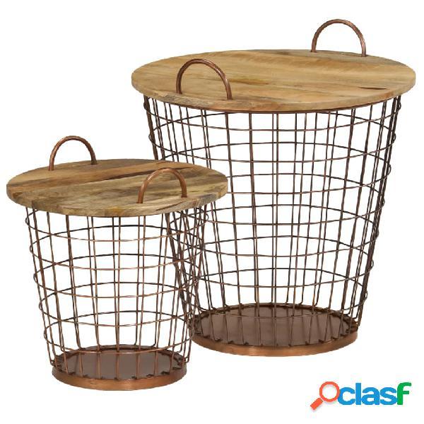 Vidaxl set tavolini da caffè 2 pz in legno massello di mango 55x50 cm