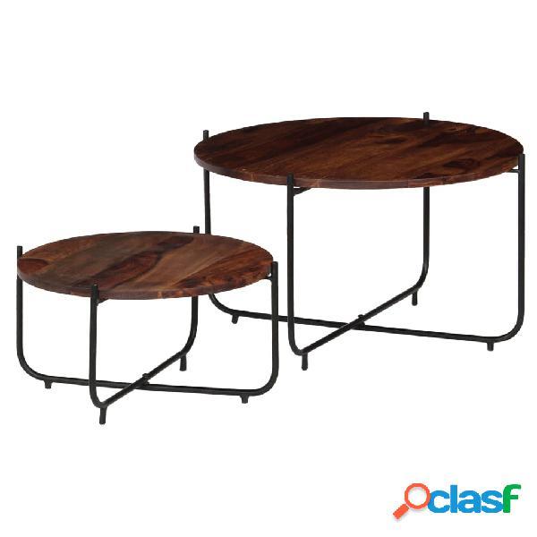 Vidaxl set tavolini da caffè 2 pz in massello di sheesham 60x35cm