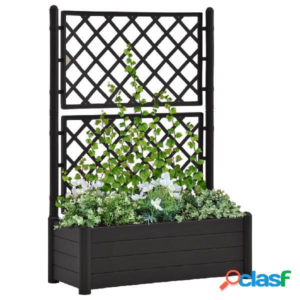 Vidaxl fioriera da giardino con graticcio 100x43x142 cm pp antracite