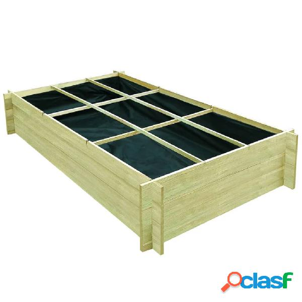 Vidaxl fioriera giardino letto vegetale in legno di pino 197x100x40cm