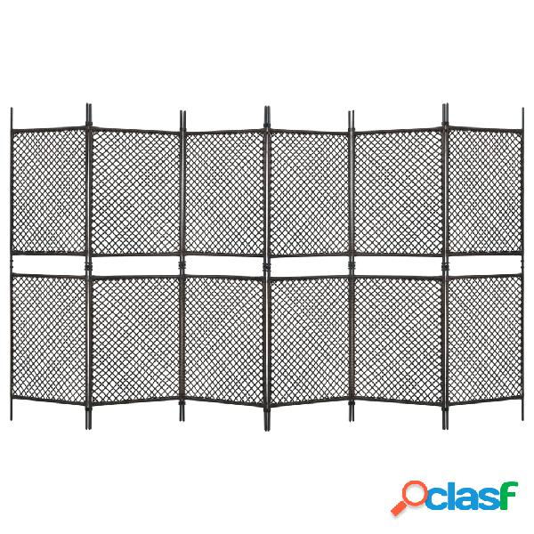 Vidaxl paravento a 6 pannelli in polyrattan marrone 360x200 cm